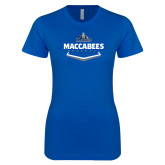 Next Level Ladies SoftStyle Junior Fitted Royal Tee-Maccabees Baseball Plate