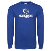 Royal Long Sleeve T Shirt-Maccabees Tennis Stacked