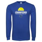 Royal Long Sleeve T Shirt-2017 Womens Tennis Skyline Conference Champions
