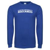 Royal Long Sleeve T Shirt-Arched Yeshiva University Maccabees