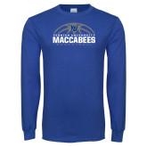 Royal Long Sleeve T Shirt-Maccabees Basketball Half Ball