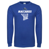 Royal Long Sleeve T Shirt-Maccabees Basketball Net