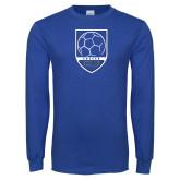 Royal Long Sleeve T Shirt-Maccabees Soccer Shield