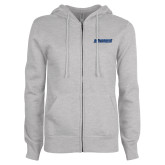 ENZA Ladies Grey Fleece Full Zip Hoodie-Yeshiva University Maccabees