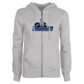 ENZA Ladies Grey Fleece Full Zip Hoodie-Primary Logo