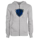 ENZA Ladies Grey Fleece Full Zip Hoodie-Shield