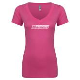 Next Level Ladies Junior Fit Ideal V Pink Tee-Yeshiva University Maccabees