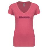 Next Level Ladies Vintage Pink Tri Blend V Neck Tee-Yeshiva University Maccabees Hot Pink Glitter