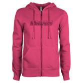 ENZA Ladies Fuchsia Fleece Full Zip Hoodie-Yeshiva University Maccabees Hot Pink Glitter