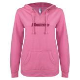 ENZA Ladies Hot Pink V Notch Raw Edge Fleece Hoodie-Yeshiva University Maccabees Hot Pink Glitter