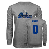 Grey Long Sleeve T Shirt-Primary Logo, Personalized Name and #