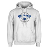 White Fleece Hoodie-Maccabees Basketball Arched