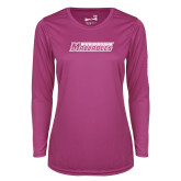 Ladies Syntrel Performance Raspberry Longsleeve Shirt-Yeshiva University Maccabees