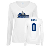 Ladies White Long Sleeve V Neck Tee-Primary Logo, Personalized Name and #