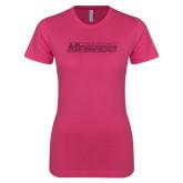 Ladies SoftStyle Junior Fitted Fuchsia Tee-Yeshiva University Maccabees Hot Pink Glitter