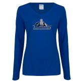 Ladies Royal Long Sleeve V Neck Tee-Primary Logo