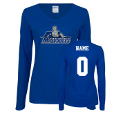 Ladies Royal Long Sleeve V Neck Tee-Primary Logo, Personalized Name and #