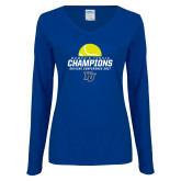 Ladies Royal Long Sleeve V Neck Tee-2017 Womens Tennis Skyline Conference Champions