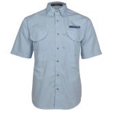 Light Blue Short Sleeve Performance Fishing Shirt-Yeshiva University Maccabees