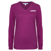Ladies Deep Berry V Neck Sweater-Yeshiva University Maccabees