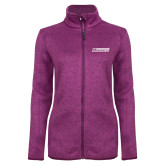 Dark Pink Heather Ladies Fleece Jacket-Yeshiva University Maccabees