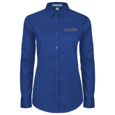 Ladies Royal Twill Button Down Long Sleeve-Yeshiva University Maccabees