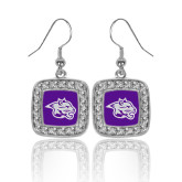 Crystal Studded Square Pendant Silver Dangle Earrings-Spirit Mark