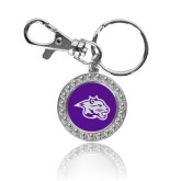 Crystal Studded Round Key Chain-Spirit Mark