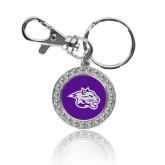 Crystal Studded Round Key Chain-Spirit Mark