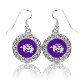 Crystal Studded Round Pendant Silver Dangle Earrings-Spirit Mark
