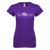 Next Level Ladies SoftStyle Junior Fitted Purple Tee-Young Harris Flat w/ Spirit Mark