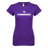 Next Level Ladies SoftStyle Junior Fitted Purple Tee-#YoungHarris