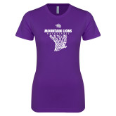 Next Level Ladies SoftStyle Junior Fitted Purple Tee-Mountain Lions Basketball w/ Hanging Net