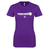 Next Level Ladies SoftStyle Junior Fitted Purple Tee-Young Harris Baseball w/ Flying Ball