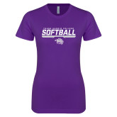 Next Level Ladies SoftStyle Junior Fitted Purple Tee-Young Harris College Softball