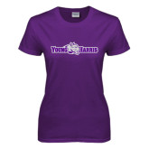 Ladies Purple T Shirt-Young Harris Flat w/ Spirit Mark