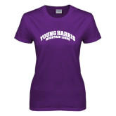 Ladies Purple T Shirt-Young Harris Mountain Lions Arched