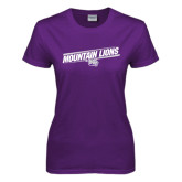 Ladies Purple T Shirt-Mountain Lions Slanted