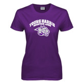 Ladies Purple T Shirt-Official Logo Distressed