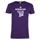 Ladies Purple T Shirt-Mountain Lions Basketball w/ Hanging Net