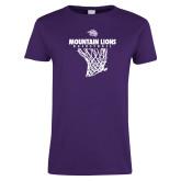 Ladies Purple T Shirt-Mountain Lions Basketball w/ Hanging Net