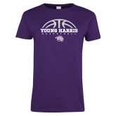 Ladies Purple T Shirt-Young Harris Basketball Half Ball