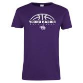 Ladies Purple T Shirt-Young Harris Basketball Half Ball