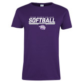 Ladies Purple T Shirt-Young Harris College Softball