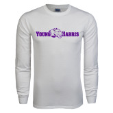 White Long Sleeve T Shirt-Young Harris Flat w/ Spirit Mark