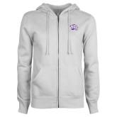 ENZA Ladies White Fleece Full Zip Hoodie-Official Logo