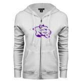 ENZA Ladies White Fleece Full Zip Hoodie-Spirit Mark