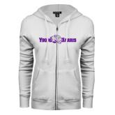 ENZA Ladies White Fleece Full Zip Hoodie-Young Harris Flat w/ Spirit Mark
