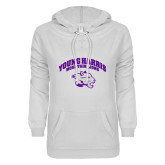 ENZA Ladies White V Notch Raw Edge Fleece Hoodie-Official Logo