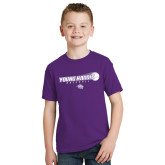 Youth Purple T Shirt-Young Harris Baseball w/ Flying Ball